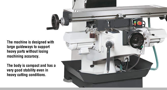 profimach flexi series universal swivel head milling machine body structure